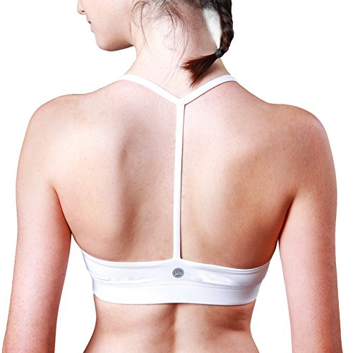 queenie-ke-womens-light-support-cross-back-wirefree-pad-yoga-sports-bra-size-l-color-white-pro-t