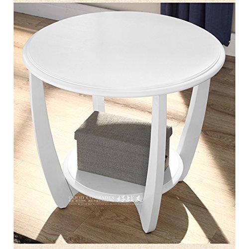 Schlafzimmer Runden Beistelltisch (MEILING Sofa ein paar Seiten Ecke ein paar solide Holz Wohnzimmer kleine Runde Tisch Couchtisch einfache Runde Beistelltisch Schlafzimmer kleine Tabelle ( Farbe : Weiß ))