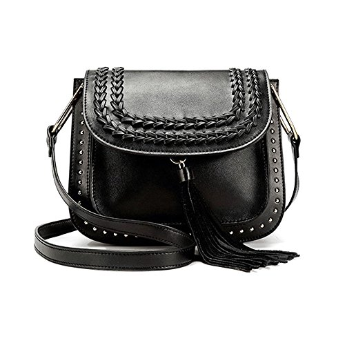 Dotcom Smooth Calfskin MINI Saddle with Calfskin Tassel and Braids, Black and Khaki (Kate Perry Kostüm)
