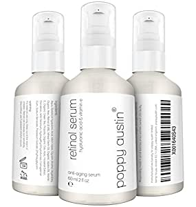 Retinol Serum von Poppy Austin® - DOPPELTE GRÖSSE 60ML - 2,5% Retinol, Vitamin E, Hyaluronsäure & Bio-Jojobaöl - Bestes Anti-Aging-Serum 2018 für Gesicht, Nacken & Augen