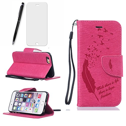 Lotuslnn iPhone 6 Case,Flip Wallet Stil Leder Tasche Etui iPhone 6 Hülle Handyhülle-(Schutzhülle+ Stylus Stift+Screen Protector)- Feder, rose pink