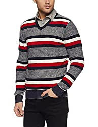 Tommy Hilfiger Mens Cotton Sweater (8907504769766_A7AMS156_L_Sky Captain)