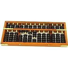 hugestore Vintage madera madera Abacus Soroban de escritorio para niños matemáticas aprendizaje educativo herramientas