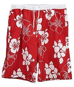 Tom Franks Red & White Floral Board Shorts / Swim Shorts XL