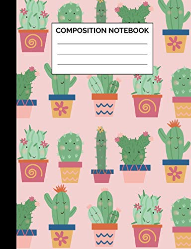 Composition Notebook: Happy Cacti Succulent Pattern Wide Ruled Lined Note Book - Cute Smiling Green Cactus Journal with Lines for Kids, Teens, ... Lined Pages / 50 Sheets - Size 7.44 x 9.69