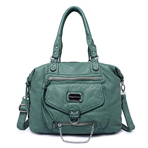 Veevan Soft Leder Retro Hobo Damen Schultertasche Handtasche (Türkis)