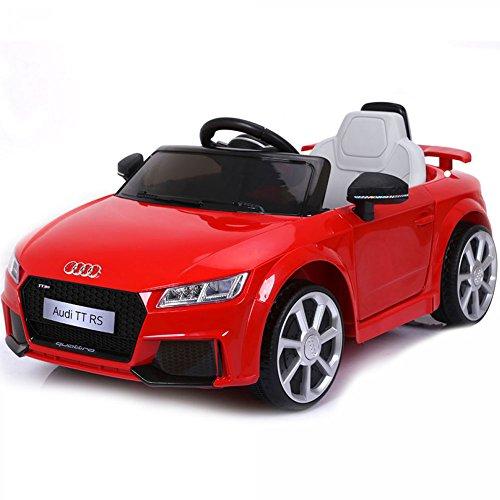 BAKAJI Auto Macchina Macchinina Elettrica per Bambini 6V MP3 Modello AUDI TT RS Cabrio Rossa con Luci Suoni e Telecomando Parental Control