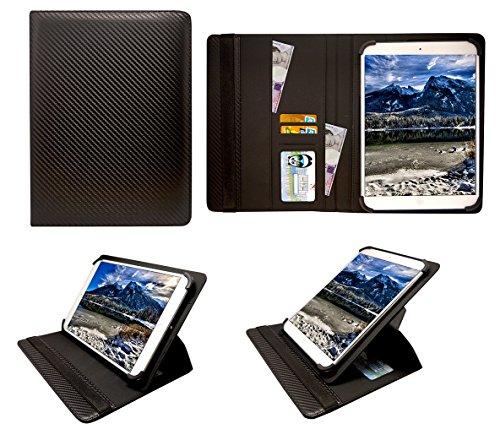 Sweet Tech Odys Sense 7 Plus 3G 7 Inch Tablet Kohlen Schwarz Universal 360 Grad Wallet Schutzhülle Folio mit Kartensteckplätzen (7-8 Zoll