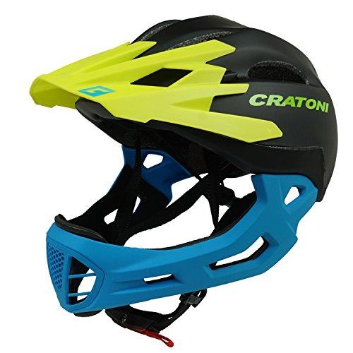Sitz Jugend Fahrrad (Downhill Helm Cratoni C-Maniac, black-yellow-blue matt, Gr. M-L (54-58 cm))