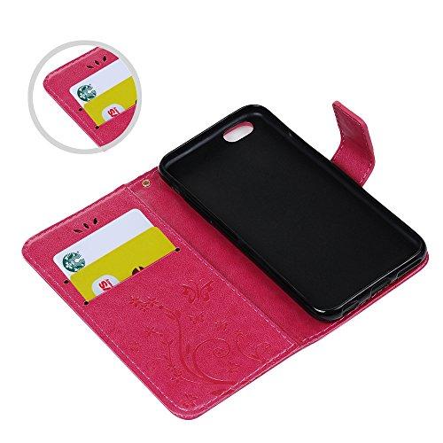 iPhone 6s Handyhülle KASOS Case für iPhone 6 Flip Case Ledertasche Schutzhülle Leder Huelle Stand Halter Magnetverschluss Schmetterling Blumen ,Blau + Schutzfolie + Staubschutz + Eingabestift Rose Rot