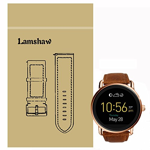 Ceston Leder Classic Ersatz Uhrenarmband Für Fossil Q Wander (Leder-Braun)