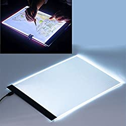 JZK® A4 LED Caja de luz artista Dibujo almohadilla, copiar almohadilla, Almohadilla de seguimiento Tabla del diseño del tatuaje, tablero de dibujo,Tablero del bosquejo Pantalla de la plantilla, caja ligera, ligero almohadilla, Mesa de luz