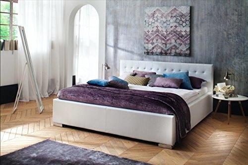 Elegantes Polsterbett in Komforthöhe 140x200 l Kunstleder Weiß l meise.möbel