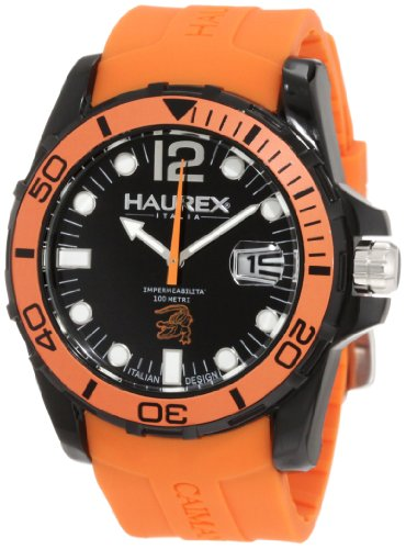 Haurex Italy N1354UNO - Reloj analógico de cuarzo para hombre con correa de caucho, color naranja