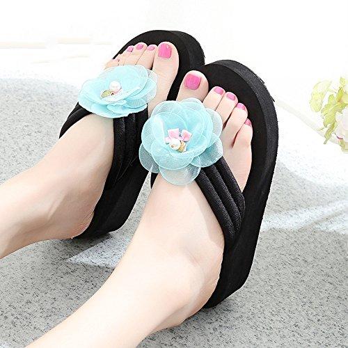 Estate Sandali Pantofole slip scivolate estive femminili Sandali con tacco alto Scarpe da spiaggia con 6 misure Colore / formato facoltativo 1004