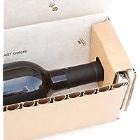 Caja de botellas cArtù: el transportador ecológico para botellas de entre 29 y 30 cm de altura y un diámetro de 7 a 8,5 cm. Juego de 6 cajas con embalaje plano.