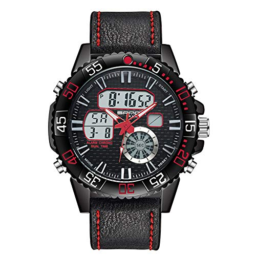 Ykang HWasserdicht Leather Watch/LED Licht/Chronograph/Weckerfunktion/Tough Stoßfest Armbanduhr (Red)