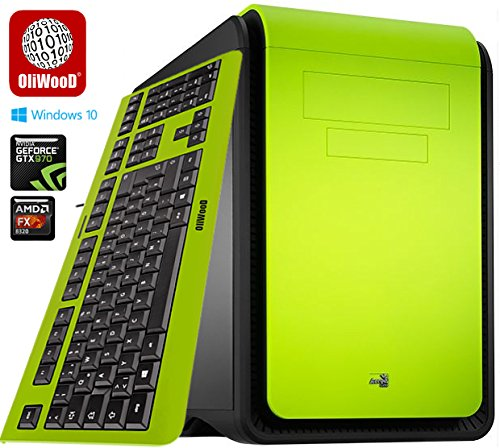Gaming G4 OliWooD Design PC inkl. bunter Design Tastatur (8x 3.5-4.0GHz, 16GB, 128GB SSD, 2000GB HDD, Geforce GTX 970, DS Cube, USB 3.0, Windows 10 Pro) (Grün)