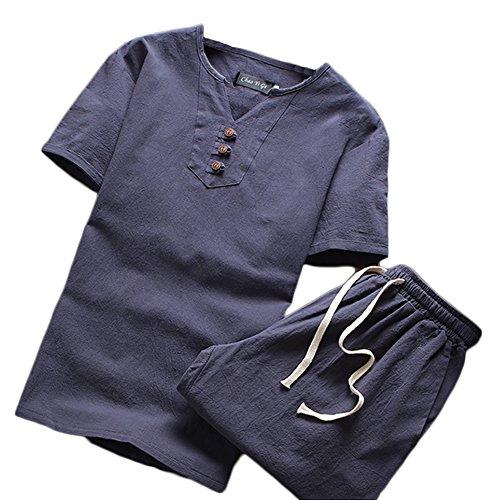 Herren Sommer Leinen V Kragen Kurzarm-T-Shirt Und Shorts Drei Schnallen Chinesische Art Einfarbig Sets Grau Blau M