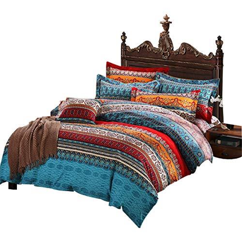 AShanlan 3 Teilig Böhmisch Bettwäsche 200x200 Doppelbett Bohemian Indisch Bettbezug mit Kissenbezug 80x80 Reißverschluss Premium Qualität Atmungsaktiv Mikrofaser Bettbezüge