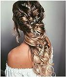 SWEETV Perle Silber Haarreife- Geflochtene Hochzeit Haarbänder Bohemian Bridal Haarschmuck - Kristall Hair Vine für Bräute Brautjungfern Extended length 28 1/2 inch