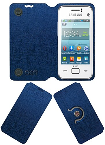 Acm Designer Rotating Flip Flap Case for Samsung Rex 80 S5222r S5222 Mobile Stand Cover Blue  available at amazon for Rs.399