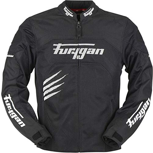 Furygan Rock Vented Motorcycle Textile Jacket Schwarz/Weiß XL -