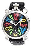 GAGA MILANO orologio nero quadrante posteriore scheletro carica manuale Swiss made 5010.02S-BLK uomo importato parallelo]
