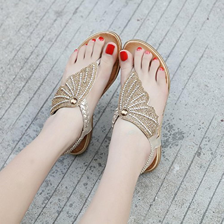 YMFIE Ladies Summer Sexy Rhinestones Pin Sandalias Planas Dulce Ocasional de la Moda Vacaciones en la Playa Antideslizante...