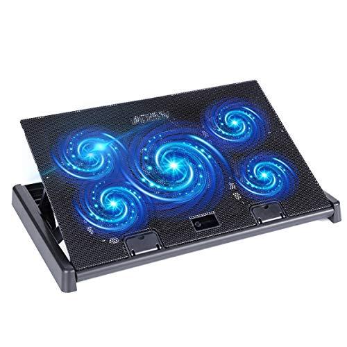 Laptop Kühlpad, slopehill PC Kühler Laptop Kühler 12-17 Zoll, 5 Lüfter Belüfteter Notebookständer Kühlmatte, 2 USB Ports, Cooling Pad Notebook Kühlerpad 2018 Version