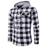 WWricotta Camisa Cuadros para Hombre Manga Larga Camisetas Casual Slim Fit Remeras Sudaderas con Capucha