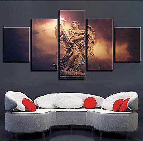 HD Leinwand Gedruckt Malerei 5 Panel Mode-Kalligraphie Wandkunst Porträt-Anführungszeichen Kreuzen Poster Bild Drucke Für Zuhause Büro-Dekorationen,A,30×50×2+30×70×2+30×80×1 -