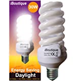 "iBoutique  Edison Screw ""E27"" Daylight Energy Saving Light Bulb Equivalent to 150 Watts of Full Spectrum, Glass, 30 W"