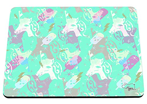 Preisvergleich Produktbild hippowarehouse Magische Eis Einhorn Muster bedruckt Mauspad Zubehör Schwarz Gummi Boden 240mm x 190mm x 60mm, aqua, Einheitsgröße