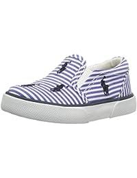 DIESEL - Zapato blanco de tejido, con insertos elásticos laterales y banda azul central con logo, Niño, Niños-32