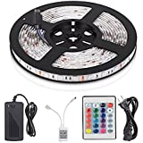 Mufasa® LED Strip Lights SMD 5050 Waterproof 16.4ft 5M 300leds RGB Color Changing Flexible LED Rope Lights with 44Key Remote +12V 5A Power Supply +IR Control Box