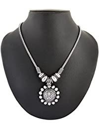 Archiecs Creations Silver Plated Strand Necklace For Women Diwali & Navratri Special Lord Ganesh (Handi_169)