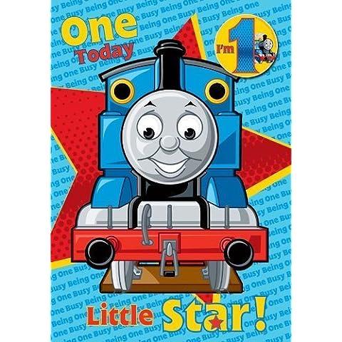 Thomas Età 1 Compleanno Greetings Scheda con Distintivo