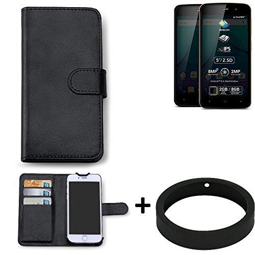K-S-Trade Case für Allview P6 Plus Schutz Tasche Hülle Walletcase schwarz Handytasche Handy Case Schutzhülle inkl. Bumper