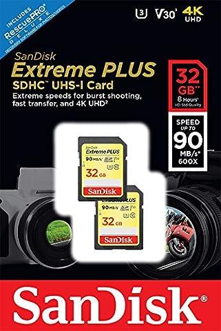 Pack de 2 Cartes Mémoire SDHC Sandisk Extreme Plus 32Go jusqu'à 90Mo/s, Classe 10, U3 , V30