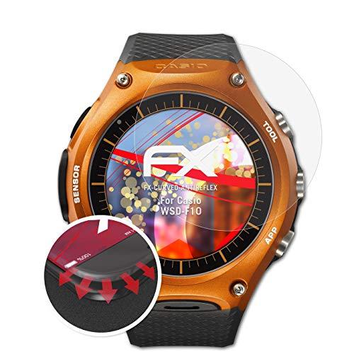 atFoliX Schutzfolie passend für Casio WSD-F10 Folie, entspiegelnde & Flexible FX Bildschirmschutzfolie (3X)