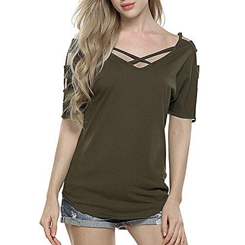 t Damen Kurzarm Oberteil mit Schulterausschnitt und Quer Ausgeschnittenen Blusen Tops ()