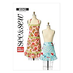 Butterick Patterns B5943 Misses' Aprons Sewing Template, Size A (All Sizes in One Envelope)