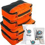 4Pz Bago Cubi Di Imballaggio - Set per Viaggi (2Orange+2Orange)+ 6Pz Sacchetti Organizzatori per i bagagli