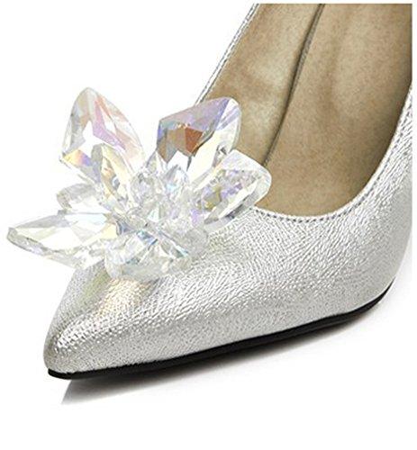 Strass Chaussures Argent Aisun Fleur Escarpins de Femme Elégant Mariée qfqnHYZa