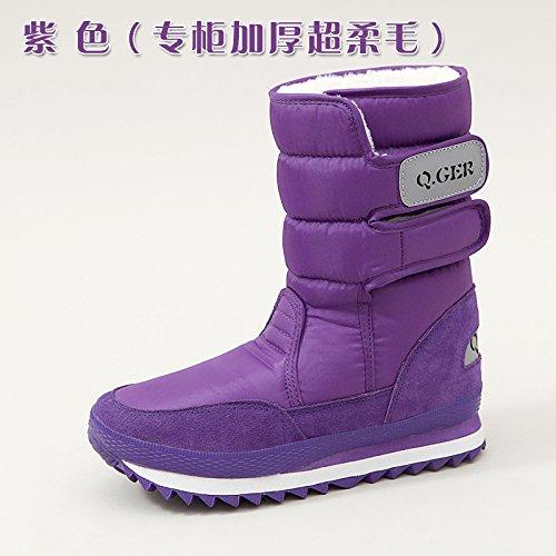 SQIAO-X- Inverno di spessore fondo piatto resistente allacqua anti-slip caldo, scarponi da neve e neve stivali scarpe di cotone La spessa di colore viola
