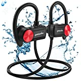 Auriculares Bluetooth, IPX7 Impermeable Auriculares Inalámbricos Deportivos, con Reducción de Ruido CVC 6.0 Micrófono y Apt-X HD Estéreo, Bluetooth 4.1 Manos Libres 10 Hours 33ft para Correr Gimnasio
