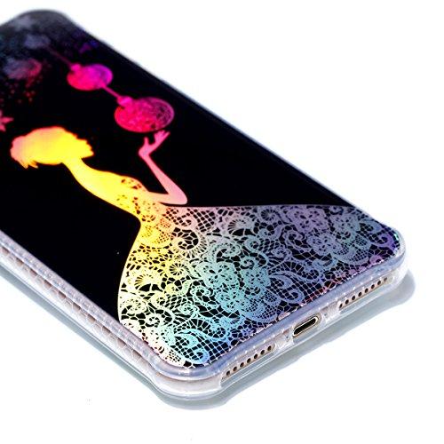 Apple iPhone 7 Plus 5.5 Hülle, Voguecase Schutzhülle / Case / Cover / Hülle / Plating TPU Gel Skin (Schwarz-Bunt Durchstochen 09) + Gratis Universal Eingabestift Schwarz-Lady 14