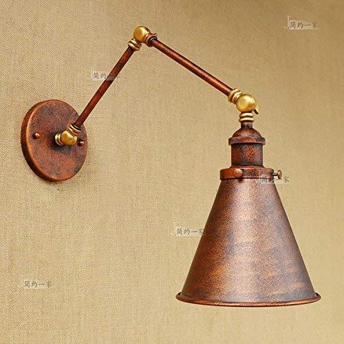Vintage Retro Industrie Schmiedeeisen Single Head Long Arm Pole Wandleuchte Swing Arm Wandhalterung Licht Wandleuchte Rost Farbe (Größe: Lampe Arm Länge: 30cm * 2) -