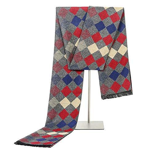 Easy Go Shopping New Business Casual Wild Herbst und Winter Schal Lange Simulation Seide Warme Mode Gradient Square Schal für Männer (Farbe : Blue Gray)
